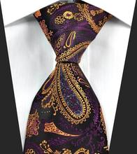 NT0359 Orange Purple Paisley Man s New Smooth Jacquard Woven Silk Polyester Tie Classic Business Party