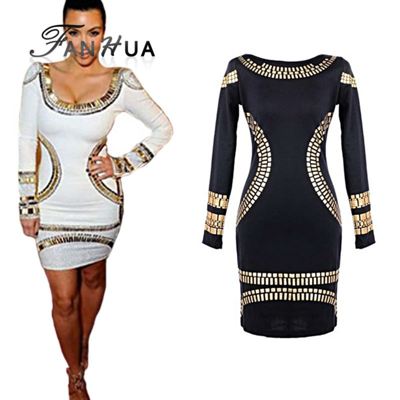 Black White Polyester Gold Rivet Decoration Sheath Dress Summer Wholesale Factory Price Clothing In L XL Size(China (Mainland))