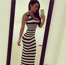 New Woman Casual Dresses 2016 Summer Fashion Black And White Striped Dress Ladies Bodycon Slim Bottoming Long Maxi Tank Dress(China (Mainland))