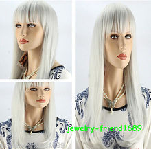 Wholesale& heat resistant LY free shipping>>>New wig Heat Resistant Fashion White Long Straight Cosplay Women Wig