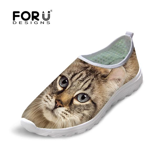 Повседневная Обувь Женская мода 3D Cute Cat Животных Плоские Туфли для Леди Женщина ...