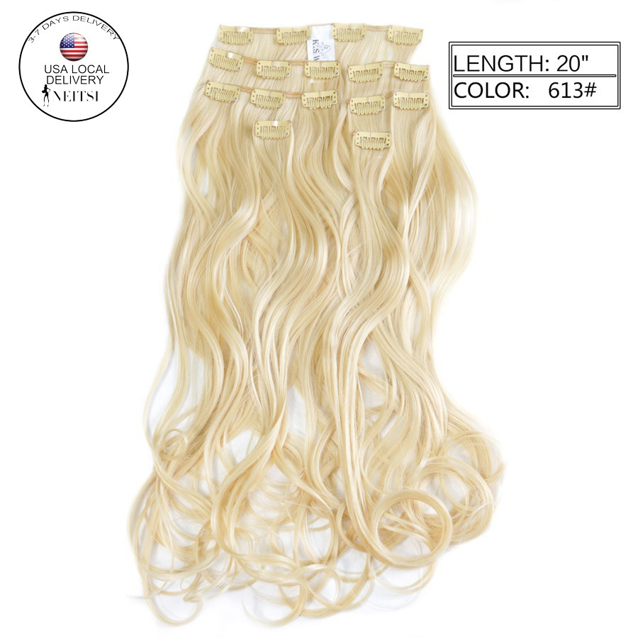 """Neitsi 20"""" 7pcs/set 140g 16clips Synthetic Clip In Curly Hair Extensions Body Wave Wavy Heat Resistant Hair 613# Blonde Color(China (Mainland))"""