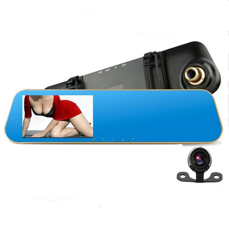 2016 4.3 inch Full HD 1080P Car Rearview Mirror DVR Car Camera Parking Night Vision Car DVR Dual Camera Video Recorder(China (Mainland))