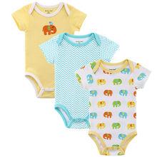 3Pcs/Lot Short Sleeve Baby Bodysuits 100% Cotton Baby Boys & Girls Bodysuits Summer Newborn Bodysuits Baby Clothes(China (Mainland))