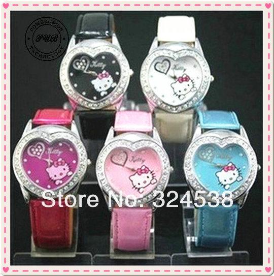 HK025 NEW lovely HELLO KITTY Heart Crystal Stone Girls Children Quartz Wrist watch