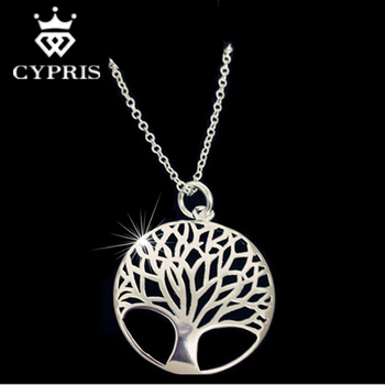 2016 CHIC BEST SELLING Silver Tree Of Life Pendant Necklace 18inch totem gift wife girlfriend women wedding Valentines Day love