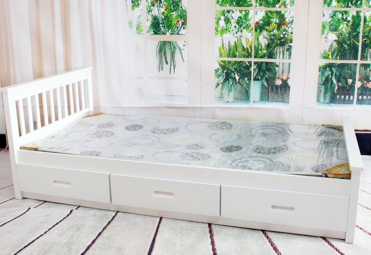 Sydney factory wholesale single white bed 1 m simple pine bed bed bed with drawers(China (Mainland))