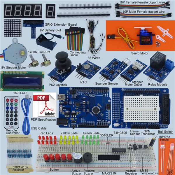 New DIY Electric Unit High quality Best Price Ultimate Starter Kit for Arduino 1602 LCD Servo Motor LED Relay RTC Electronic kit(China (Mainland))