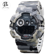 Brand New Men's Camouflage Army Sport Watch Men's Electronic+Quarts Digital&Analog LED Display Watch Male Functional Wristwatch