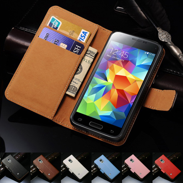 Luxury Genuine Real Leather Case For Samsung Galaxy S5 Mini G800 Book Style Phone Back Cover Flip Stand Design With Card Slot(China (Mainland))
