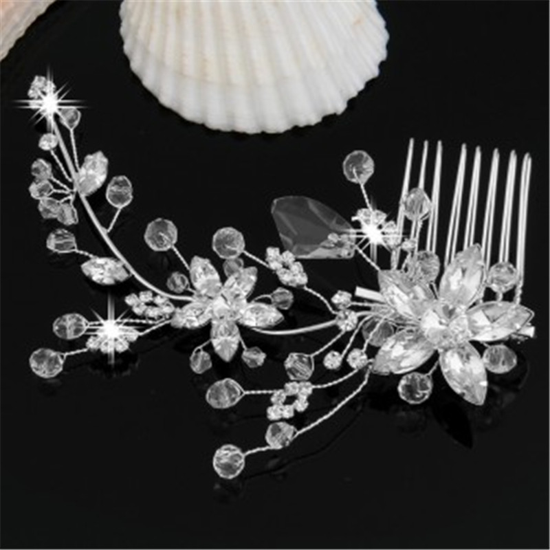 1PCS Silver Plated Crystal Flower Bridal Party Tiara Hair Slide Comb Pin Women(China (Mainland))