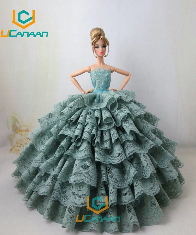 Not Include the Doll ! Ucanaan 1 PC Inexperienced Occasion Wedding ceremony Gown For Barbie Doll Restricted Assortment Elegant Handmade Gown Garments