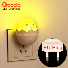 EU-Plug Creative Design Energy Saving Light Sensitive LED Night Light on the Wall for for Bed Lamp Home Decor(Yellow Duck)