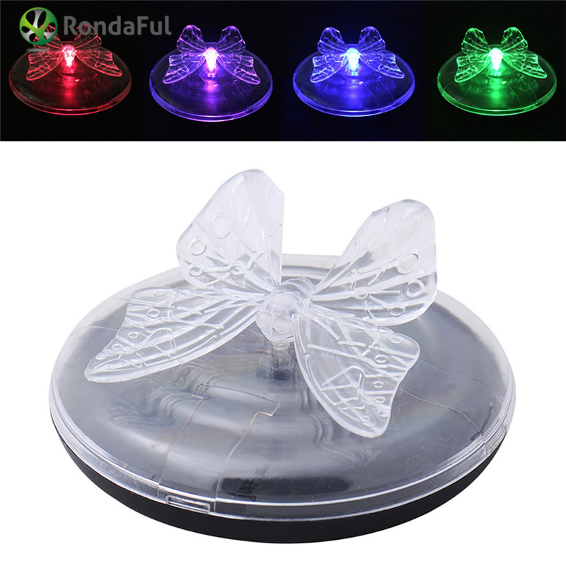 New Butterfly Dragonfly Solar Power Garden Light LED Outdoor RGB Colors Changing Floating Night Lamp Lights For Pood Decoration(China (Mainland))