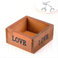 1pc Square Fine Juicy Vintage Wooden Flower Pot And Wooden Storage Box 9.8 * 9.8 * 5cm(China (Mainland))