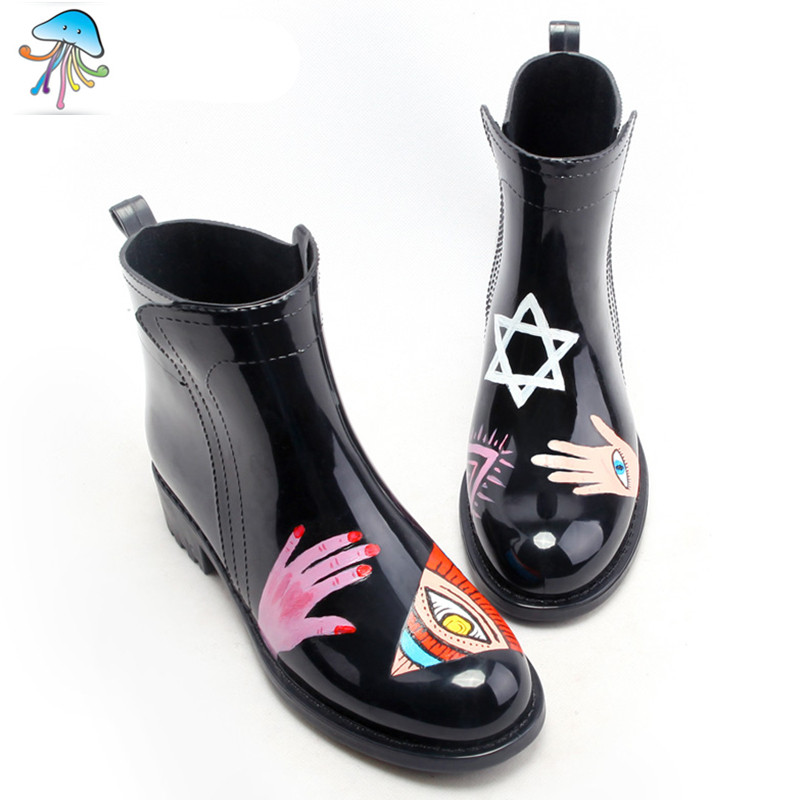 Rainboots Women Pure Hand-Painted Low Tube  Color Boots Fashion  Rubber Galoshes Overshoes waterproof<br><br>Aliexpress