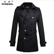 Long Black Trench Coat Men America Simple Design Pea Caot With Belt  Double Breasted Trench Coat Men free shipping 79(China (Mainland))