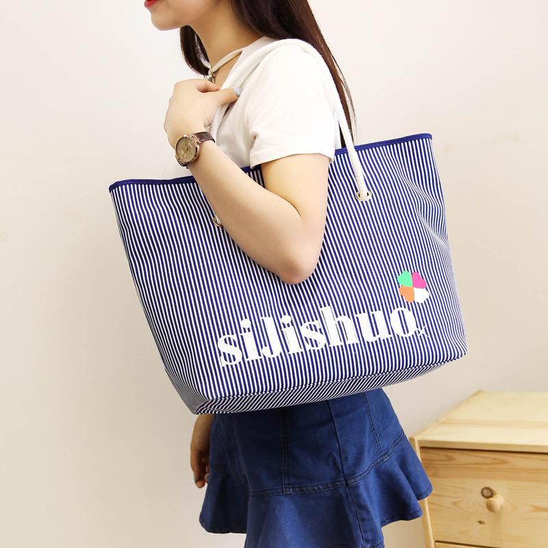 Leisure Summer Canvas Shopper Shoulder Bag Striped Print Beach Bags Big Capacity Tote Women Ladies Casual Shopping Handbag Bolsa(China (Mainland))