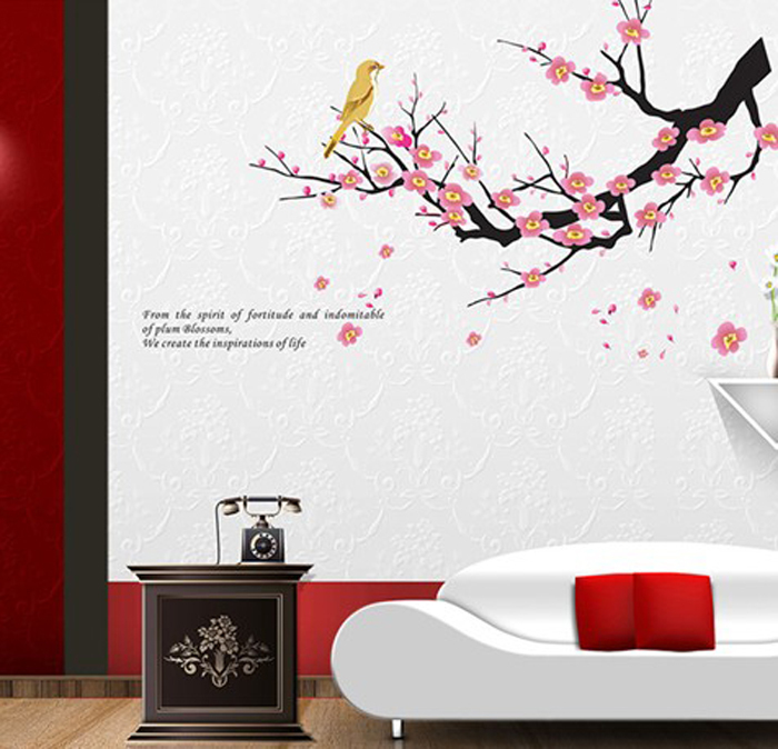 V-co Hot sale classic Chinese traditional pattern plum blossom Magpies wall sticker for home decor(China (Mainland))