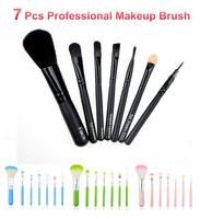 New Kitty 7 Pcs Mini Makeup Brush Set Woden Handle Cosmetics Make Up Brush Kit + Bag Puff Brushegg Brush Cleaner 4 Color