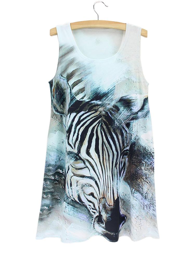 oil painting zebra blue dress woman dress 2015 new design latest good quality club dresses sleeveless loose cheap woman clothes(China (Mainland))