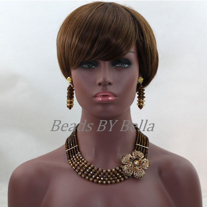 Trendy Nigerian Party Beads Choker Necklace New Brown Gold Crystal African Women Fashion Lace Jewelry Sets Free Shipping ABL260(China (Mainland))