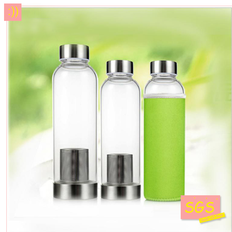 Modern Design Glass Sport Water Bottle with Tea Infuser Protective Bag 550ml Fruit Outdoor Eco-Friendly Free shipping with SGS(China (Mainland))