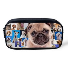 Cute pet pug dog pencil bags for girls children pencil box mulit high capacity makeup bag school supplies boys pencil cases(China (Mainland))