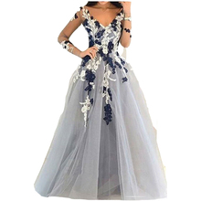 Light Gray Tulle Prom Dress 2017 Long Sleeves Flower Evening Dress Sexy Middle East Saudi Arabia Style Lady Party Gowns(China (Mainland))