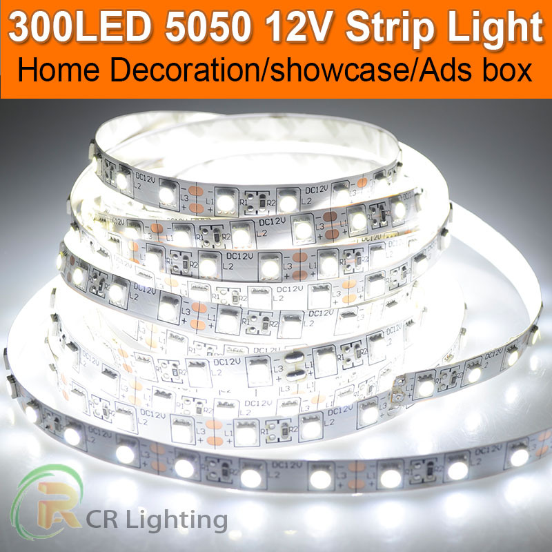 Promotion Sale 5M Bande Flexible Rope Tape Luce White Room Night 5050 SMD LED Strip 12V Indoor Outdoor(China (Mainland))