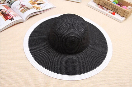 2015 Hot New White and Black Summer Sun Hats Wide Brim Straw Hats UV Protected Outdoors Beachside Sun Hats for Elegant Women(China (Mainland))