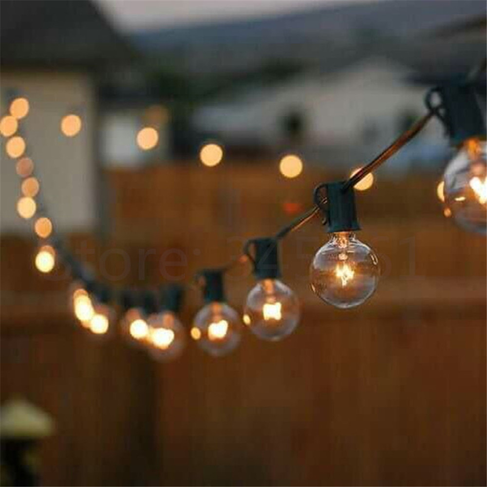 Patio Lights G40 Globe Party Christmas String Light Warm White 25clear Vintage Bulbs 25ft