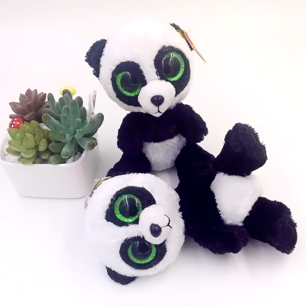 Free Shipping 5'' Lovely TY Collection White BAMBOO Panda Plush Toy Small Charms Stuffed Animal KeyChain Plush Doll Toys S026(China (Mainland))