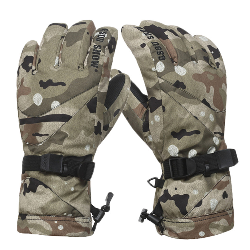 Free Shipping 2016 GSOU SNOW Men Camouflage Pattern Skiing Gloves Thermal Cotton Gloves Winter Sports Waterproof Windproof(China (Mainland))