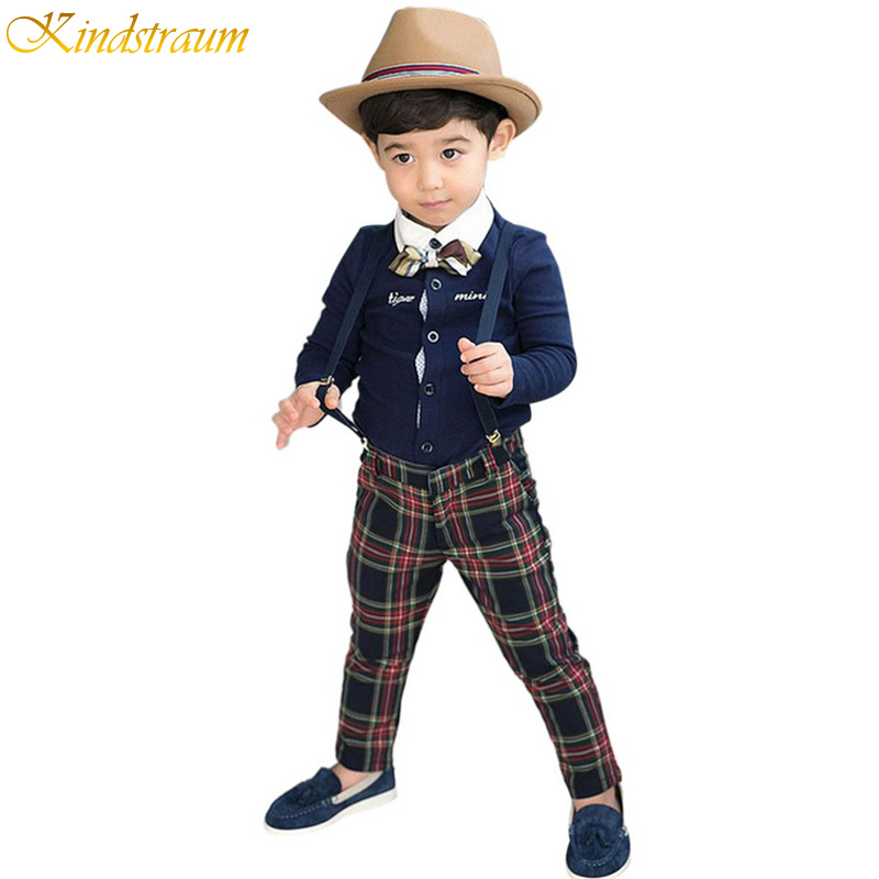 2015 New Spring Kids Cotton Clothing Sets for Boys England Style Suits Shirt+Overalls+ Bow tie Children Suits Top+Pants, HC229<br><br>Aliexpress