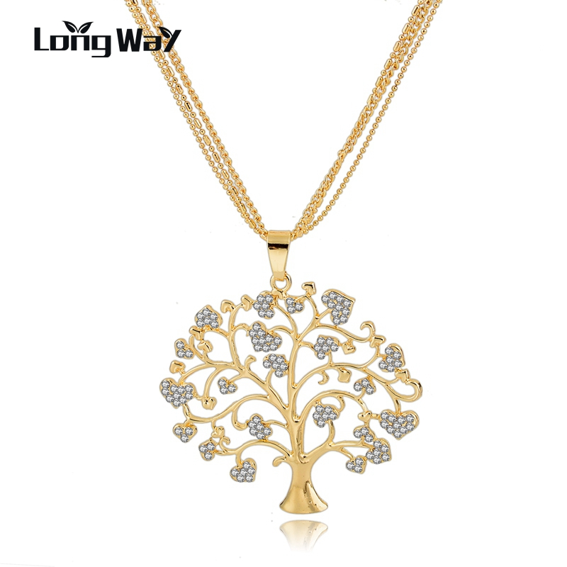 2016 Tree Of Life Necklace Women Gold & Silver Plated Pendant Necklaces Crystal Vintage Jewelry Collares Sne160113(China (Mainland))