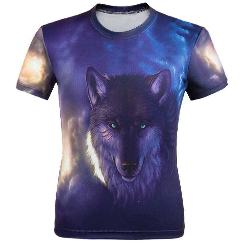European Style Skull Printed 3D T Shirts Short Sleeve Men Tshirts O Neck Top Tees Casual Wolf Clothing Novelty Style T-shirtsОдежда и ак�е��уары<br><br><br>Aliexpress