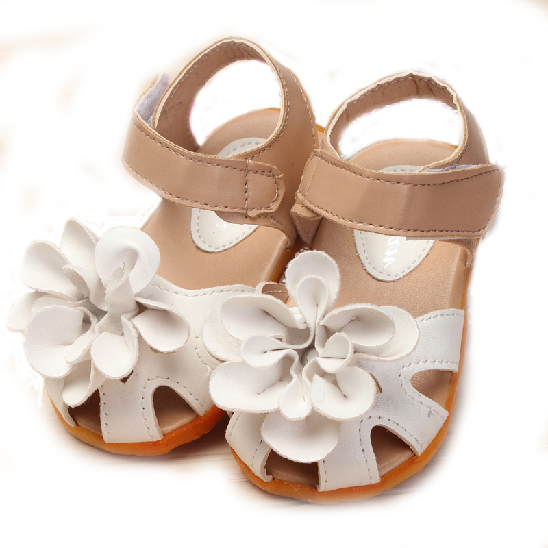 13-18cm 2015 Fashion Baby Girls Summer Sandals Kids Leather Flower Anti-slip Soft Sole Infant First Walkers Footwear size 21-30(China (Mainland))