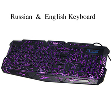 New Russian English Bilingual USB Gaming keyboard with 3 Backlight Modes 19 Keys Conflict-free for computer DOTA 2 LOL Limited(China (Mainland))