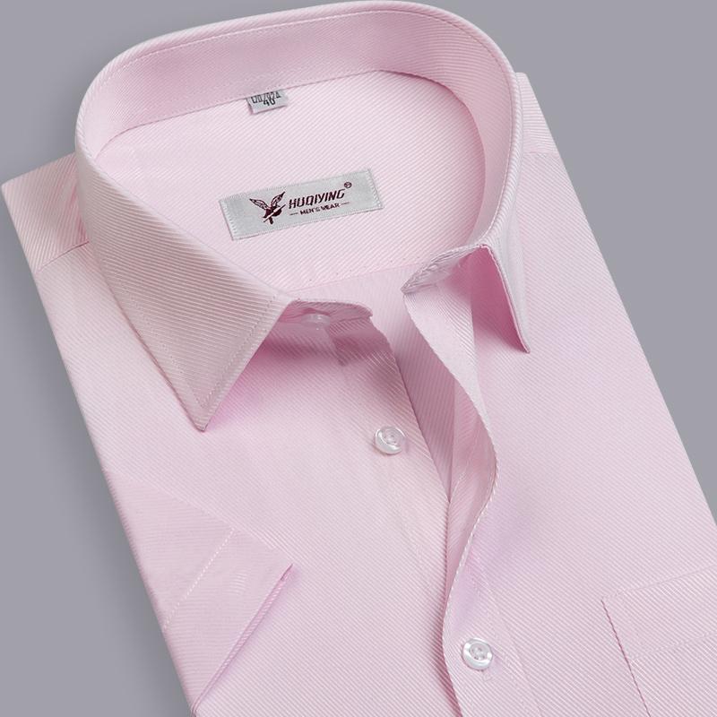 2015 Brand Men Shirt Plus Size Slim Fit Striped Business Formal Shirt Short Sleeve Mens Dress