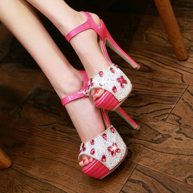 2015 Rhinestone wedding shoes summer platform sandals stiletto high heels peep toe ladies pumps size 34-39<br><br>Aliexpress