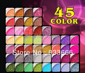 45 colors Glitter acrylic powder for Party  weddings Beauty Care Nail Art Salon decoration 3D Tips