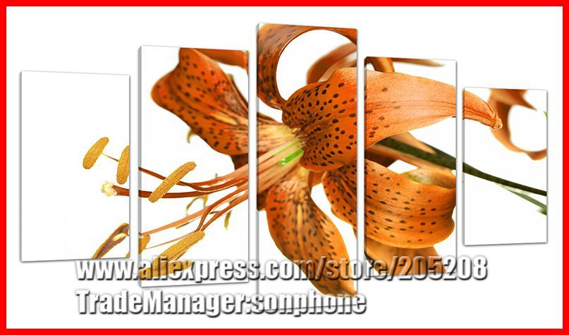 Framed 5 Panel Large Lily Flower Canvas Painting Group Buying Wall Art Picture Home Decor Unique Gift XD00221(Hong Kong)