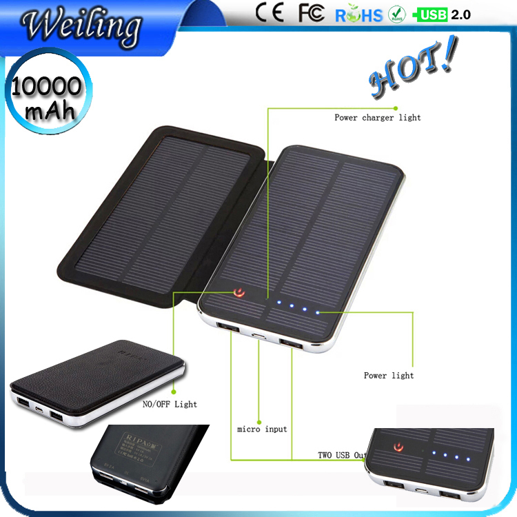 Leather folding solar Manufacture power bank 3W-10000mah Portable battery power bank for smartphone /ipad Power Bank 2.1a(China (Mainland))