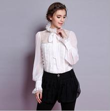 Plus Size Women Clothing Women Blouses Silk Blusas Autumn Bowknot Lace Fold A Shirt Women Tops And Blouses 2016 New Fashion