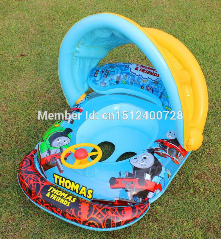 2016 cartoon Thomas train pattern water Ring toy PVC Seat ring toy Cute Baby Inflatable laps Pool boat Ring Horn turmpet(China (Mainland))