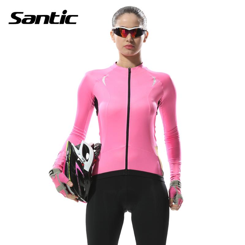Santic long sleeve cycling jersey pink anti uv breathable for Uv long sleeve shirt womens