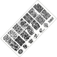 1 Sheet Lace&Flowers Series Stamping Nail Art Image Plate, 6*12cm Stainless Steel Template Polish Manicure Stencil Tools BC-01