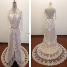 2015 Hot Sale Vintage Wedding Dresses Summer Lace Organza Long White V-Neck Dresses Plus Size Wedding Dresses Free Shipping dsi8(China (Mainland))