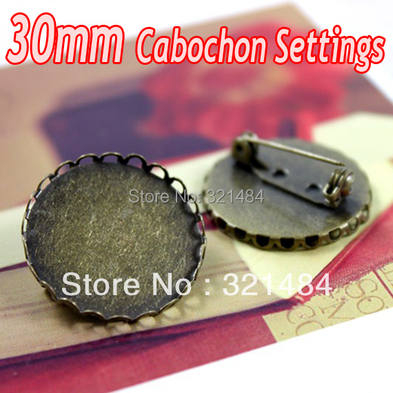 Antique bronze brass metal 100pcs Brooch Pin with 30mm Blank Base Tray Bezel Cameo Cabochon Setting<br><br>Aliexpress